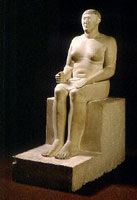Ancient Egyptian statue of Hemiunu showing big male breasts of Gynecomastia.